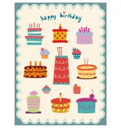 Cute and sweet cakes set vector