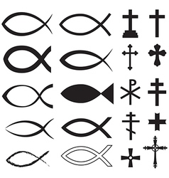 Fish and cross vector