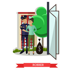 Flat of policeman catching vector