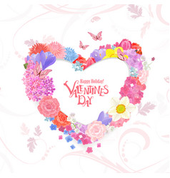 Floral wreath of heart shape of different spring vector