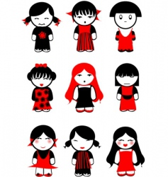 girl dolls vector image