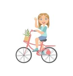 Girl riding a bicycle waving vector