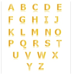 Gold alphabet set a to z vector