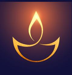 Golden diwali artistic diya background vector