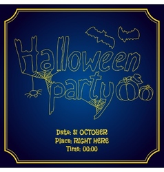 Halloween party poster with pumpkin and bats vector