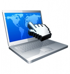 laptop and cursor vector image vector image