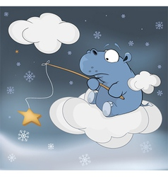 Little hippopotamus and fantastic star Cartoon vector image