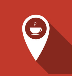 Map pointer with hot coffee cup with long shadow vector
