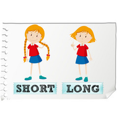 Opposite adjectives short and long vector