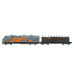 Orange locomotive with railway platform vector