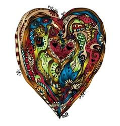 Original drawing doddle heart vector