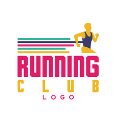 running club logo emblem with abstract running vector image vector image