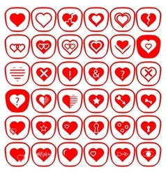 Set of Different Red Hearts Icons vector image
