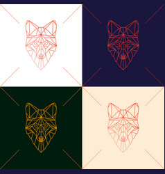 Set of four fox head geometric lines silhouette vector