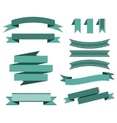 set of the blue ribbons for banner poster vector image vector image