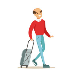 Smiling man traveling with suitcase colorful vector