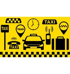 Transport set of taxi objects vector