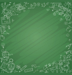 white school icons with blackboard background vector image vector image