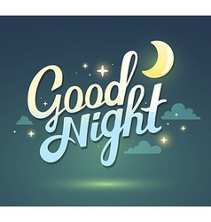 Wish good night on dark green sky backgro vector