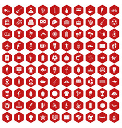 100 south america icons hexagon red vector