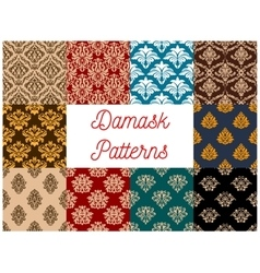 Seamless floral patterns set with damask ornaments vector
