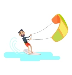 Athlete takes part at kite surfing spain festival vector