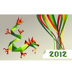 2012 Chinese calendar origami dragon vector image