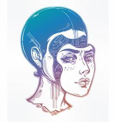 Robot or cyborg girl portrait vector