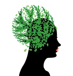 Girl head with green leaves vector