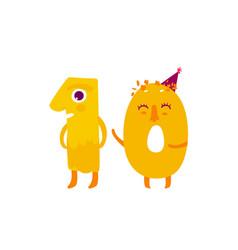 Cute animallike character number dozen 10 vector
