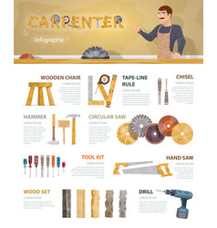colorful carpentry infographic template vector image