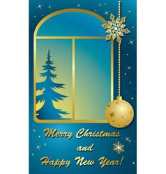 Christmas card with window and gold decorations vector