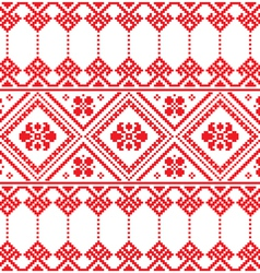 Ukrainian folk art floral embroidery pattern vector