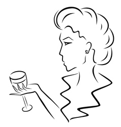 Beautiful woman with a wineglass in hand vector