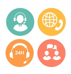Call center icons of operator and headset vector