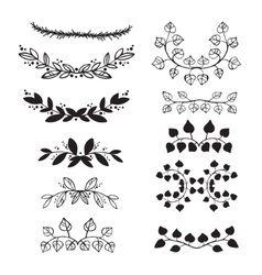 Elegant floral decorative elements set with vector