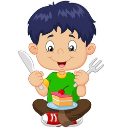 Cartoon boy eating cake isolated on white backgrou vector
