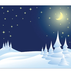 winter christmas landscape in night vector image