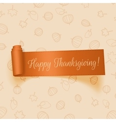 Realistic thanksgiving orange ribbon vector