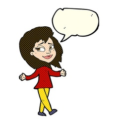 Stress free woman cartoon with speech bubble vector