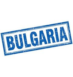 Bulgaria blue square grunge stamp on white vector