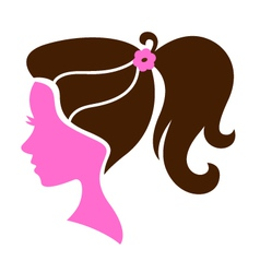 Beautiful female hairstyle silhouette vector