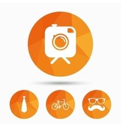 Hipster photo camera icon glasses symbol vector