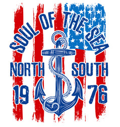 Anchor vintage design with american flag vector