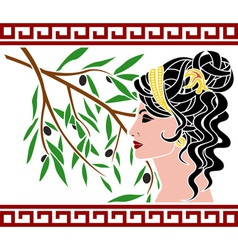 Aphrodite and olive branch vector image