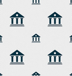 bank icon sign Seamless pattern with geometric vector image vector image