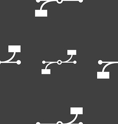 Bezier curve icon sign seamless pattern on a gray vector