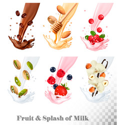 big collection icons of fruit in a milk splash vector image