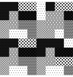 Black and white patchwork quilted geometric vector