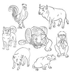 Bull Cock dog monkey pig rat tiger vector image vector image